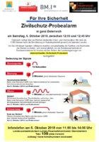 Zivilschutz - Probearlarm am Sa. den 06.10.2018